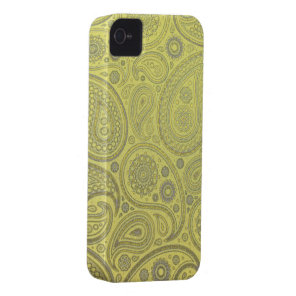 Yellow fabric paisley pattern iPhone 4 Case-Mate case