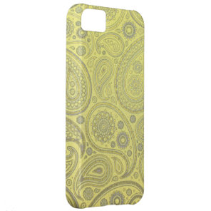 Yellow fabric paisley pattern iPhone 5C case