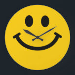 """Yellow Face Large Clock<br><div class=""""desc"""">yellow smile,  smiles face,  faces,  cute,  yellow,  happy,  """"happy face"""",  """"happy faces"""",  """"yellow face"""",  """"yellow faces"""",  cartoon,  """"cartoon face"""",  """"cartoon smile"""",  smile,  smiles,  laugh,  yellow,  adorable,  uplifting,  grin,  &quot;grinning face&quot;,  &quot;digital art,  vector,  graphic,  hippy,  hippie,  retro,  rave,  vintage,  emoticon,  emoticons,  humor,  fun,  funny,   humorous</div>"""