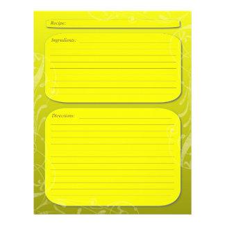 "Yellow fade classy swirl recipe page 8.5"" x 11"" flyer"