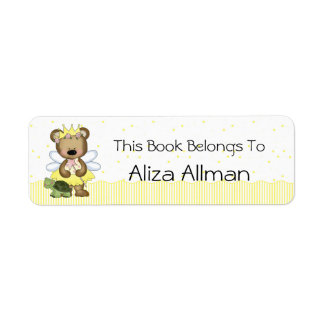 Yellow Fairy Bear Bookplate Label