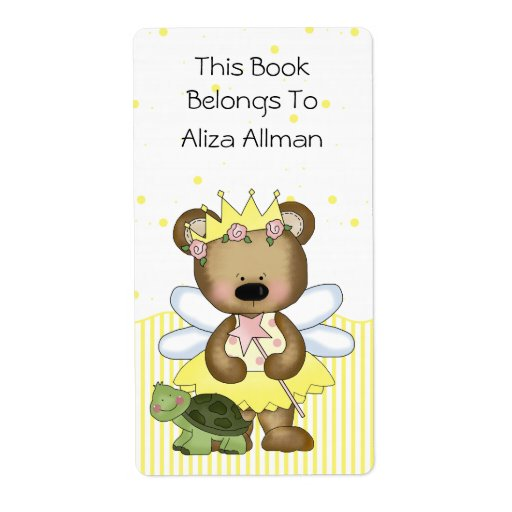 Yellow Fairy Bear Bookplate Label Shipping Label