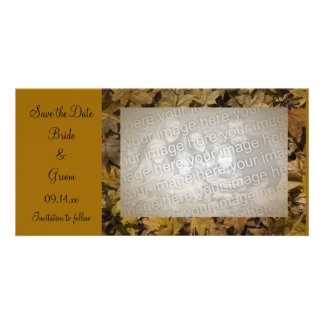 Yellow Fallen Leaves Save the Date Photo Card