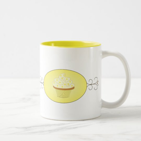 Yellow Fancy Cupcake Two-Tone Coffee Mug