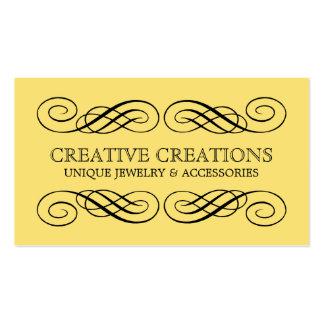 Yellow Fancy Flourish Business Card