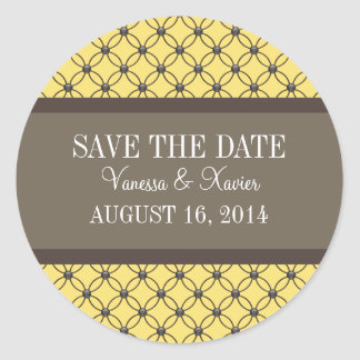 Yellow Fancy Lattice Save the Date Stickers