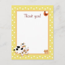 Yellow Farm Baby Moo Cow Flat Thank You notes