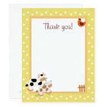 Yellow Farm Baby Moo Cow Flat Thank You notes Invitation