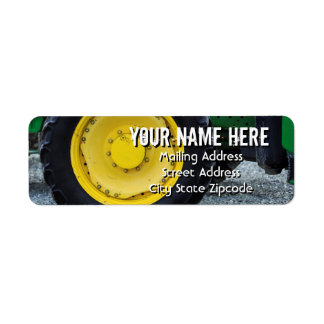 Yellow Farm Tractor Wheel Address Label