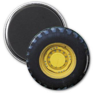 Yellow Farm Tractor Wheel Magnet