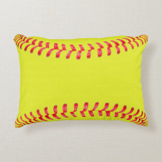Yellow Fastpitch Softball Bedroom Accent Pillow