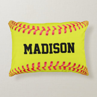Yellow Fastpitch Softball Custom Accent Pillow