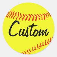 Yellow Fastpitch Softball Custom Stickers