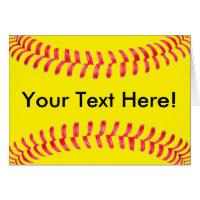 Yellow Fastpitch Softball Custum Greeting Card