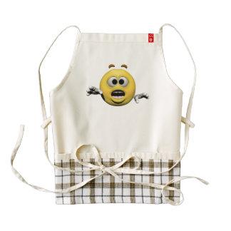 Yellow fear emoticon or smiley zazzle HEART apron