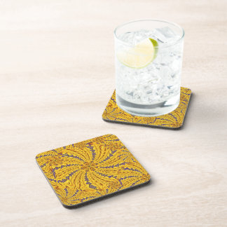 Yellow Feather Mandala Cork Coaster