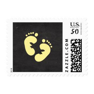 Yellow feet baby chalkboard baby shower stamp