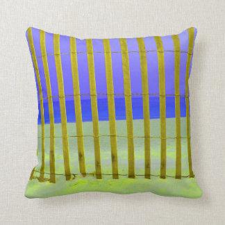 yellow fence purple sky blue sea pillow