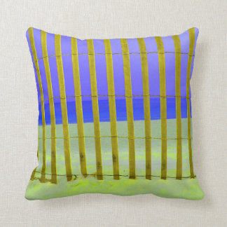 yellow fence purple sky blue sea pillows