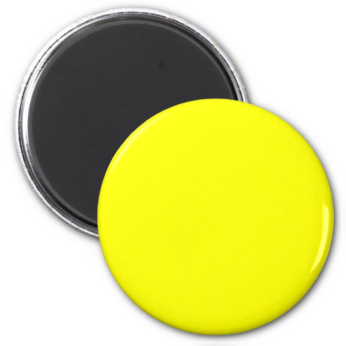 Yellow #FFFF00 Solid Color 2 Inch Round Magnet