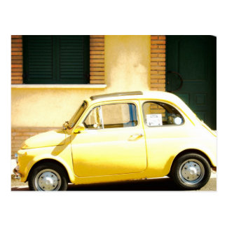 Yellow Fiat 500 in Italy Postcard