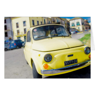 Yellow Fiat 500, vintage Cinquecento in Italy Card