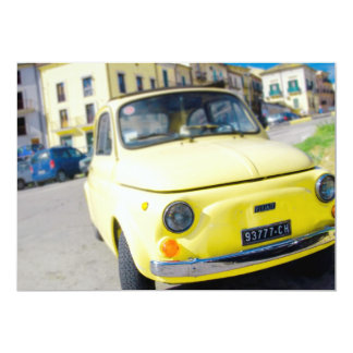 Yellow Fiat 500, vintage Cinquecento in Italy 5x7 Paper Invitation Card