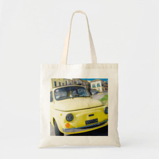 Yellow Fiat 500, vintage Cinquecento in Italy Tote Bag