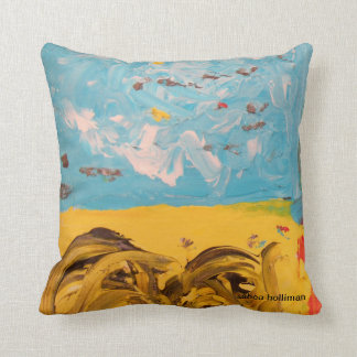 Yellow Field and Pale Blue Sky Pillow