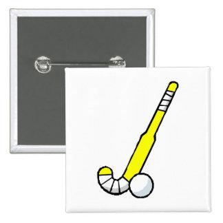 Yellow Field Hockey Stick Pinback Button