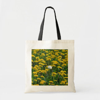 Yellow Field of dandelions in the Netherlands flow Budget Tote Bag