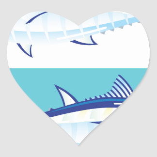 Yellow fin Tuna Vector stylized Heart Sticker