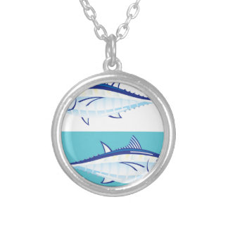 Yellow fin Tuna Vector stylized Silver Plated Necklace