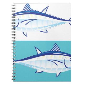Yellow fin Tuna Vector stylized Spiral Notebook