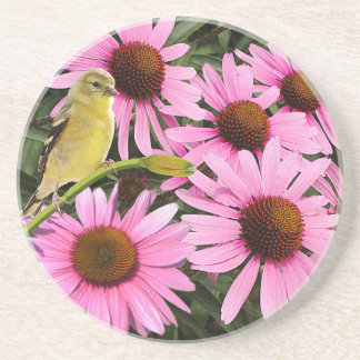 Yellow Finch and Pink Cone Flowers - Coaster