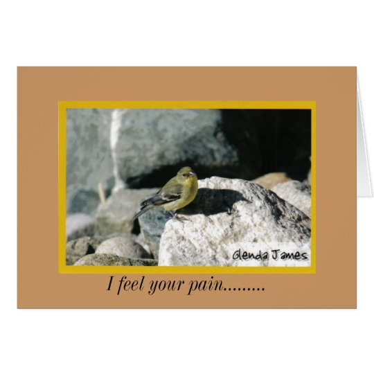 yellow finch on rock, I feel your pain......... Card