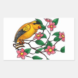 Yellow Finch on Tree Branch Rectangular Sticker