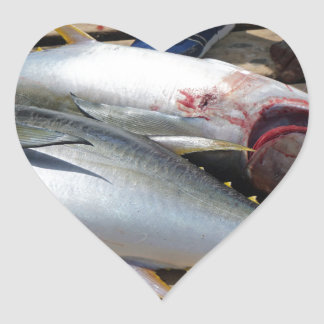 yellow fins tuna heart sticker