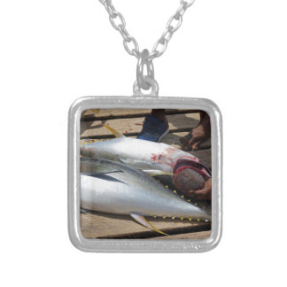 yellow fins tuna silver plated necklace