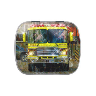 Yellow Fire Engine Fire Truck Art Jelly Belly Candy Tins