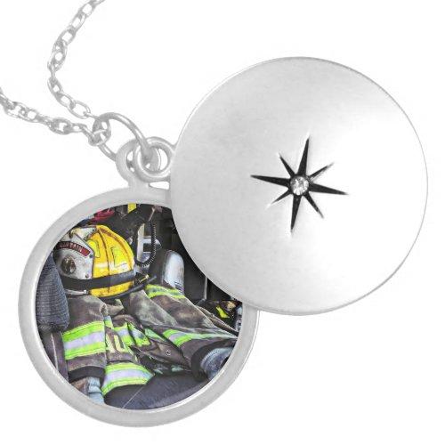 Yellow Fire Helmet In Fire Truck Locket Necklace