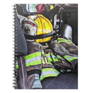 Yellow Fire Helmet In Fire Truck Notebook