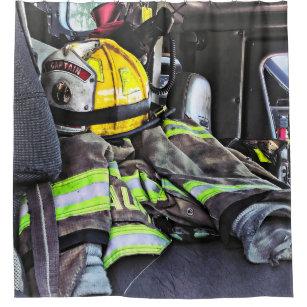 Yellow Fire Helmet In Truck Shower Curtain