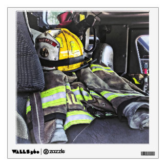 Yellow Fire Helmet In Fire Truck Wall Decal