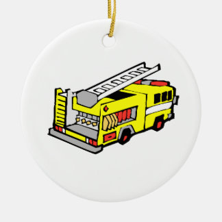 Yellow Fire Truck Ceramic Ornament