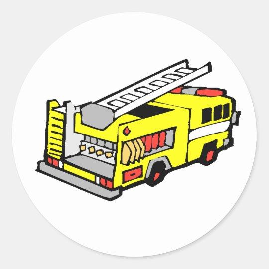 Yellow Fire Truck Classic Round Sticker