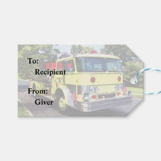 Yellow Fire Truck Gift Tags