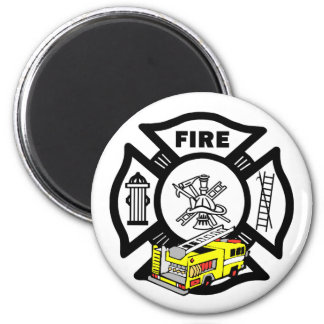 Yellow Fire Truck Refrigerator Magnets