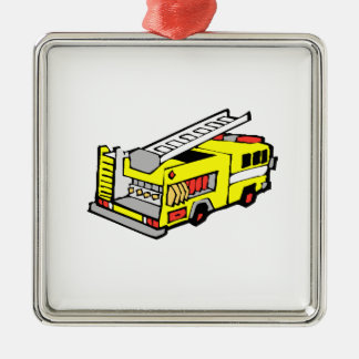 Yellow Fire Truck Metal Ornament