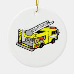 Yellow Fire Truck Ornaments